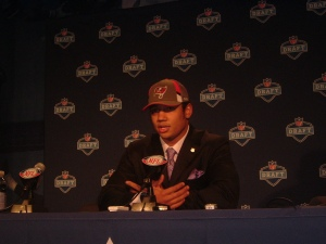 Josh Freeman taking questions from reporters at the NFL Draft April 25. Photo by Chris Murray