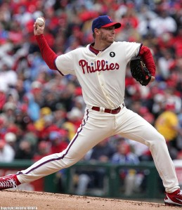 Roy Halladay has struggled in his last two outings of a sore right shoulder. Photo by Webster Riddick.