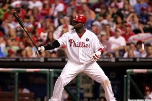 Ryan Howard, who has been struggling, had a solo-homer in Friday's win over the Braves.  Photo by Webster Riddick.