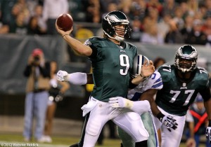 Rookie Nick Foles hopes to build on Sunday's win over Tampa Bay. He passed for 381 yards and two touchdowns including the game-winner to Jeremy Maclin. Photo by Webster Riddick.