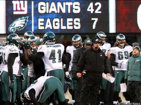 Andy Reid Coaching in what is likely his final game with the Philadelphia Eagles. Photo By Webster Riddick.