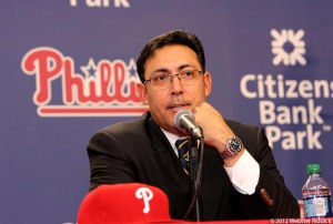 Phillies general manager Ruben Amaro looks to rebuild Phillies after firing Charlie Manuel.