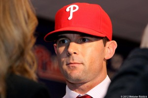 Phillies new third baseman Michael Young said he's excited to be in Philly. Photo by Webster Riddick.