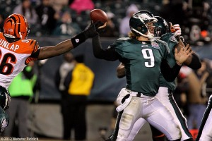 A tough night for Nick Foles and the Eagles offense as they committed five turnovers. Photo by Webster Riddick.