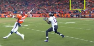 Jacoby Jones catches game-tying TD pass from Joe Flacco that sent last weekend's divisional playoff game against Denver into overtime.