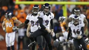 Baltimore Ravens kicker Justin Tucker jumps for joy after booting the game-winning field goal to beat Denver in overtime in the AFC Divisional  Playoff.