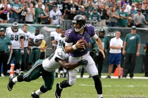 Ravens quarterback Joe Flacco has outplayed both Peyton Manning and Tom Brady in the 2012 playoffs. Photo by  Webster Riddick.