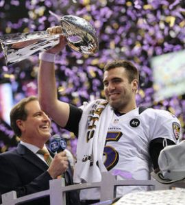 Super Bowl XLVII MVP Joe Flacco of the Baltimore Ravens holds up the Vince Lombardi Trophy.