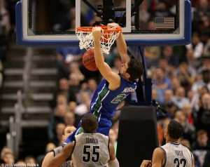 Florida Gulf Coast senior forward slams home a putback in the Eagles upset of No. 2 seed Georgetown. Photo by Webster Riddick