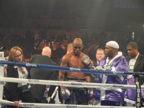 Bernard Hopkins (left) has a few words fog  some reporters at ringside after his stunning win over Tavoris Cloud for the IBF Light Heavyweight crown. Photo by Chris Murray.