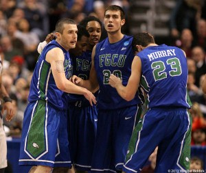 Florida Gulf Coast University men's basketball team, in its second year of NCAA Tournament eligibility pulls off the biggest upset of the tourney by beating No. 2 seed Georgetown. Photo by Webster Riddick.