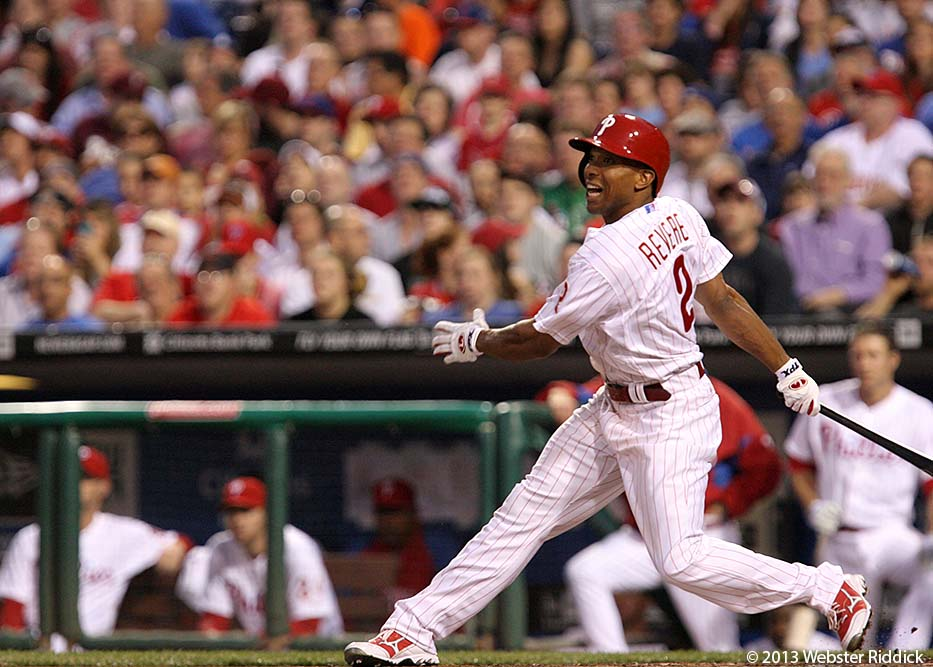 Ben Revere's RBI single in the eighth put the Phils on top for good in the win over the St. Louis Cardinals. Photo by Webster Riddick.