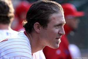 Chase Utley's walk-off base-on-balls gave teh Phillies a 4-3 win over Arizona. Photo by Webster Riddick.
