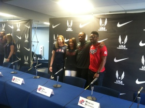 (from left to right) Phoebe Wright, Allyson Felix, Doc Patton and Manteo Mitchell at Penn Relays USA versus the World Press Conference. Photo by Chris Murray.