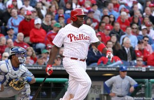 Ryan Howard hit his first home run of the year Tuesday in the Phillies win over the New York Mets. Photo by Webster Riddick