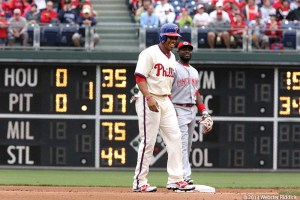 Phillies need a centerfielder  to replace Ben Revere, who broke his right foot during Saturday's game against the Chicago White Sox. Photo by Webster Riddick.