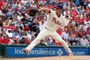 Cole Hamels has struggle in his eight starts this season. Photo by Webster Riddick.
