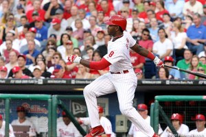 Domonic Brown has been struggling at the plate and in the field. His misplay of a fly ball cost the Phillies in Wednesday's loss to the Miami Marlins. Photo by Webster Riddick.