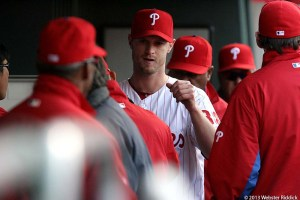 Kyle Kendrick struggled in 10-0 loss to Cincinnati. Photo by Webster Riddick.