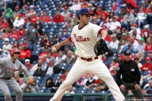 After giving four runs in the first inning, Rookie Jonathan Pettibone didn't allow another run, but his offense couldn't score either in the Phillies loss to the Boston Red Sox. Photo by Webster Riddick.