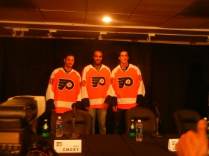 Flyers general manager Paul Holmgren believes the Flyers are a better team with (from left to right) former New York Islanders defenseman Mark Streit, goalie Ray Emery and former Tampa Bay Lightning center Vincent LeCavalier. Photo by Chris Murray.