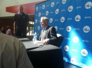 New Sixers head coach Brett Brown knows that rebuilding the 76ers will be a long-term process. Photo by Chris Murray.