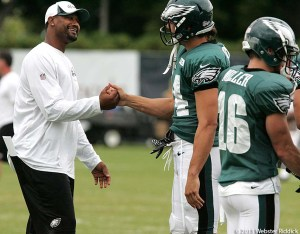 Eagles wide receiver Riley Cooper was welcomed back  by his teammates a week after being caught on camera using a racial slur.  Photo  by Webster Riddick.