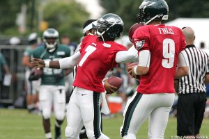 Michael Vick and Nick Foles believe they are both capable of being the Eagles starting quarterback. Photo by Webster Riddick.