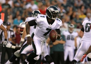 Eagles quarterback Michael Vick completed 4-of-5 passes for 94 yards including a 47-yard bomb to DeSean Jackson. Photo By Webster Riddick.