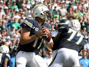 San Diego Chargers quarterback Phillip Rivers lit the Eagles up for 419 yards and three touchdown passes. Photo by Webster Riddick.