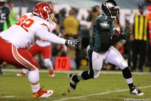 Michael Vick threw two interceptions in the Eagles loss to the Kansas City Chiefs. Photo by Webster Riiddick.
