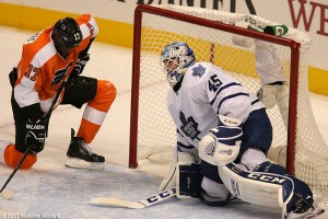 Wayne Simmonds shot is stuffed by Toronto goalkeeper Jonathan Bernier. The Flyers had 32 shots, but scored just one goal in loss to the Maple Leafs. Photo by Webster Riddick.
