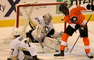 Flyers Forward Wayne Simmonds deflects a shot from Claude Giroux past Pittsburgh's Marc-Andre Fleury for the Flyers only goal of the game. Photo by Webster Riddick.