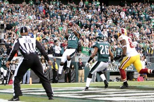 Brandon Boykin's four-quarter interception of Robert Griffith III preserves the Eagles 24-16 win over Washington. Photo by Webster Riddick.