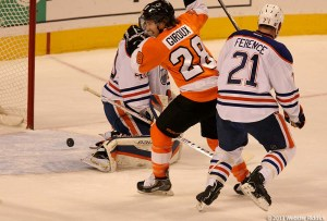 Claude Giroux had a goal and assist in the win over Montreal. Photo by Webster Riddick.