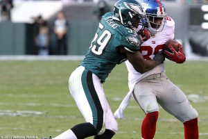 Eagles middle linebacker DeMeco Ryans has been the anchor of an improving defense. Photo by Webster Riddick.