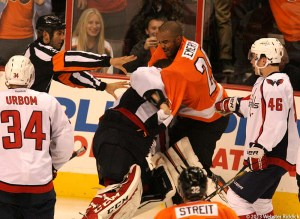 Flyers goalie Ray Emery engages in a brawl with Capitals goalie Braden Holtby. Photo by Webster Riddick.
