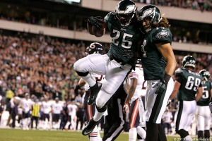LeSean McCoy scores two touchdowns in win over the Bears. Photo by Webster Riddick.