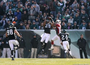 Eagles safety Nate Allen get his first interception of the year against the Cardinals. Photo by Webster Riddick.
