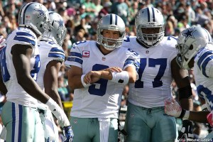 Cowboys quarterback Tony Romo threw two fourth-quarter interceptions in Sunday's loss to Green Bay. Photo by Webster Riddick.