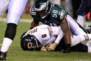 Trent Cole (58) sacked Jay Cutler three times in the Eagles win over the Bears. Photo by Webster Riddick.