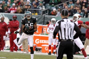 Cary Williams intercepts a Carlson Palmer pass in the Eagles 24-21 win over the Arizona Cardinals. Photo by Webster Riddick.