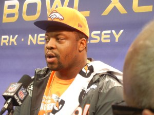 "Former Temple and Denver Broncos start defensive lineman Terrance ""Pot Roast"" Knighton taking questions at Super Bowl Media Day. Photo by Chris Murray."