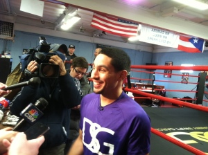 World Super Lightweight Champion Danny Garcia takes for a few questions from the media shortly before beginning his work out for his upcoming fight against rising contender Mauricio Herrera on March 15 in Bayamon, Puerto Rico.