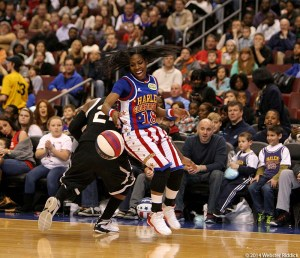 Former Temple point guard Fatima Maddox in enjoying the spotlight as a member of the Harlem Globetrotters.  Photo by Webster Riddick.