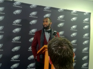 New Eagles safety Malcolm Jenkins takes a few questions from reporters during his press conference on Wednesday.
