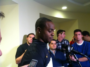 Eagles wide-receiver Jeremy Maclin meets with the media after signing a one-year deal with the team. Photo by by Chris Murray.