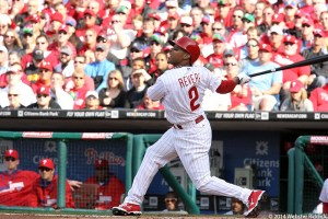 Ben Revere's RBI single was the difference in the Phillies win over the Braves.  Photo by Webster Riddick.