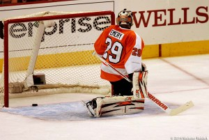It was tough night for Flyer goalie Ray Emery.  Photo by Webster Riddick.