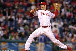 Phillies pitcher Cliff Lee pitched seven strong innings.  Photo by Webster Riddick.
